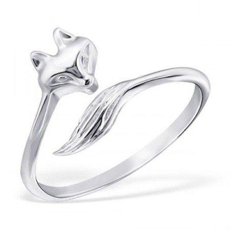 Fox, srebrny pierścionek damski