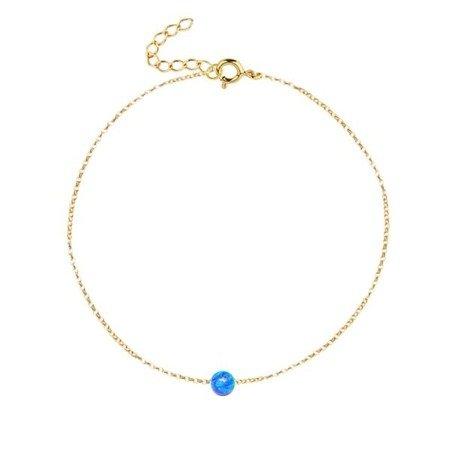 Magiczny Opal pozłacana bransoletka z niebieskim opalem
