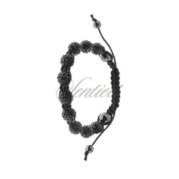 Rope bracelet (925) black and hematite