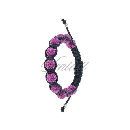 Rope bracelet (925) pink 11 disco balls