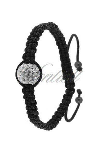 Rope bracelet (925) white 1 disco ball