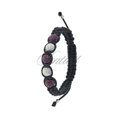 Rope bracelet (925) white & plum 5 disco balls classic