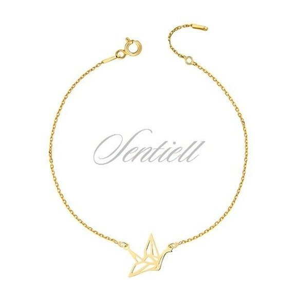 Silver (925) bracelet - Origami dove gold-plated