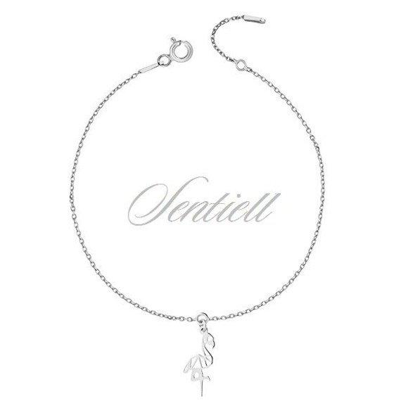 Silver (925) bracelet - Origami flamingo
