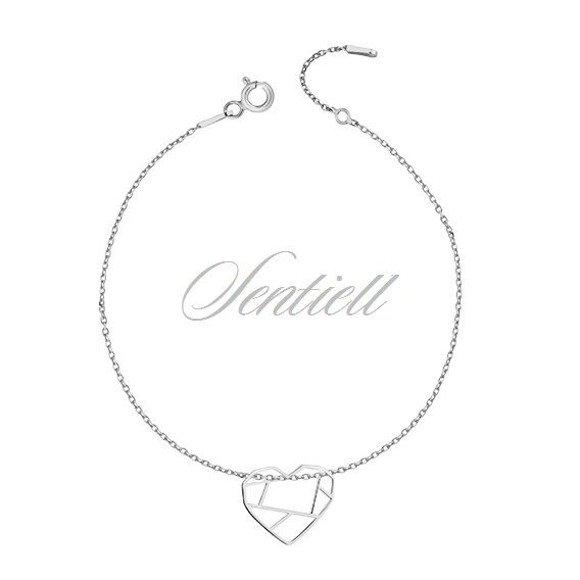 Silver (925) bracelet - Origami heart