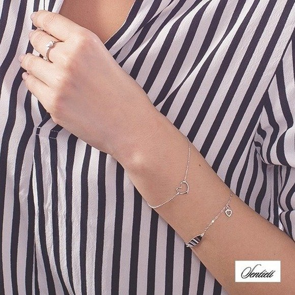 Silver (925) bracelet of celebrities with heart