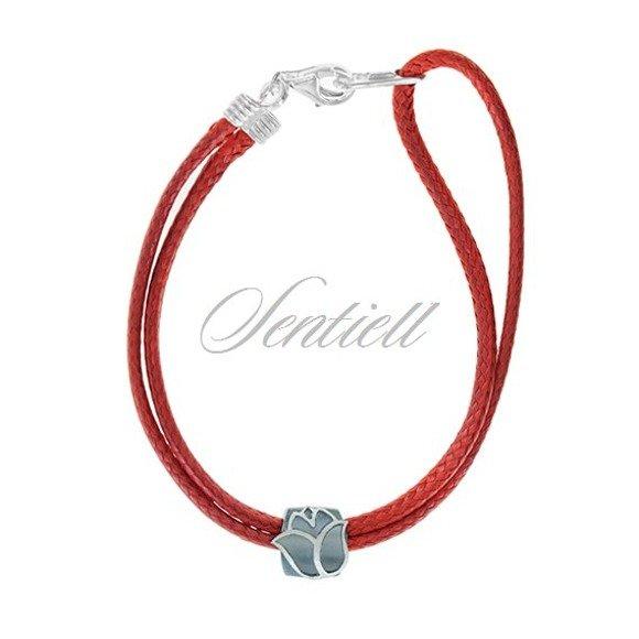 Silver (925) bracelet, red cord- Flower