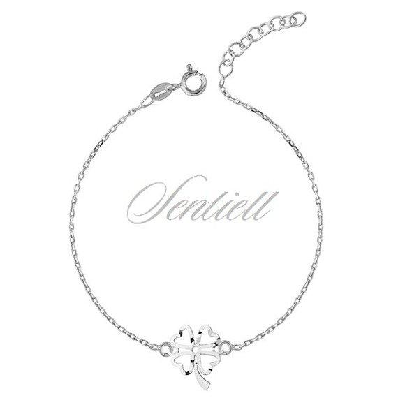 Silver (925) bracelet with open-work clover pendant