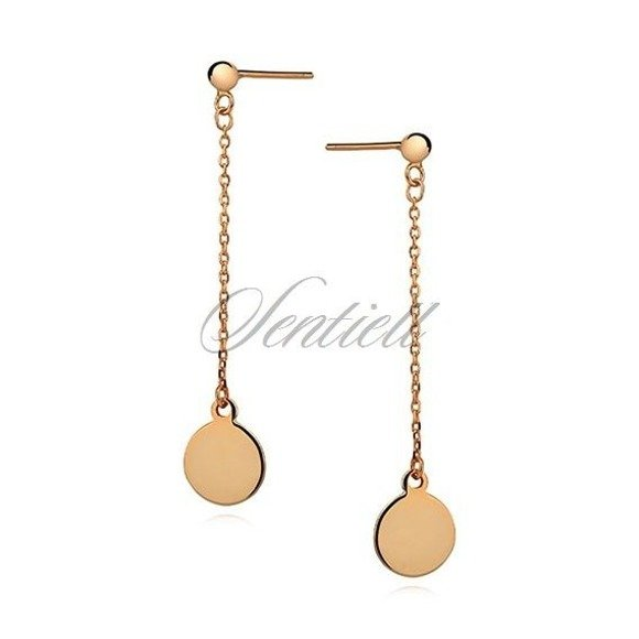 Silver (925) earrings - hanging, gold-plated circles