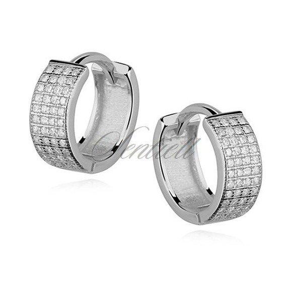 Silver (925) earrings hoop with four rows of zirconia