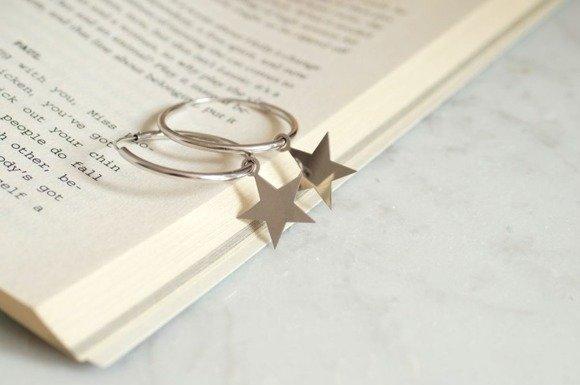 Silver (925) earrings hoop with stars