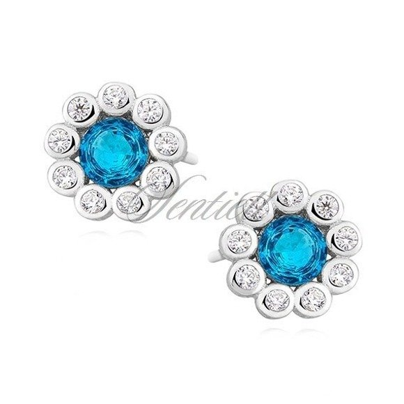 Silver (925) earrings with aquamarine zirconia