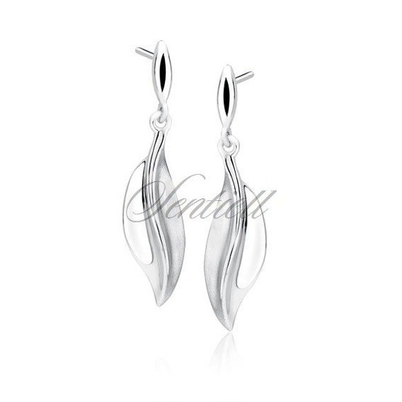 Silver (925) elegant earrings - leaf