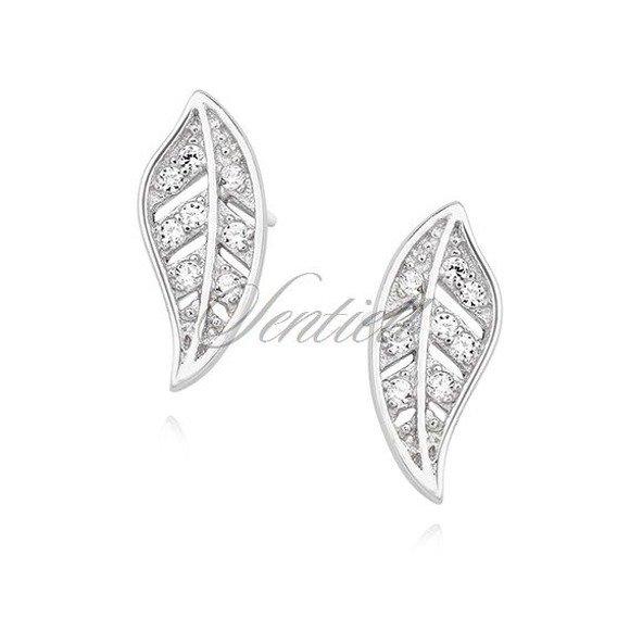 Silver (925) elegant earrings - leafs with zirconia