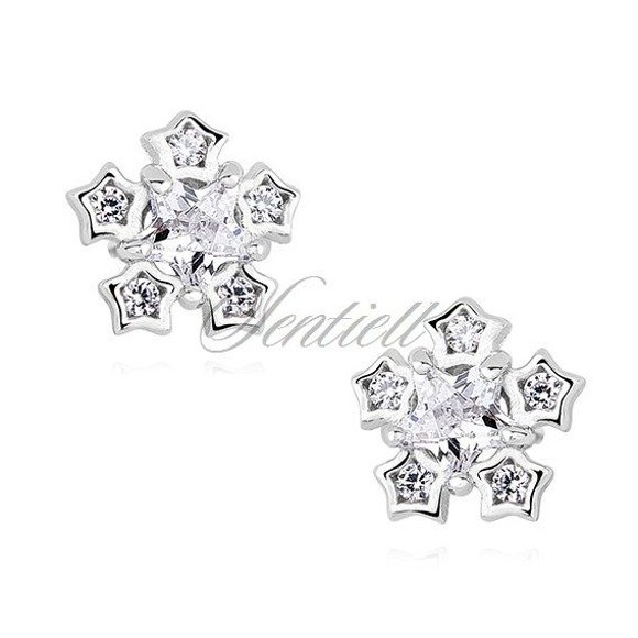 Silver (925) elegant earrings - snowflakes with zirconia