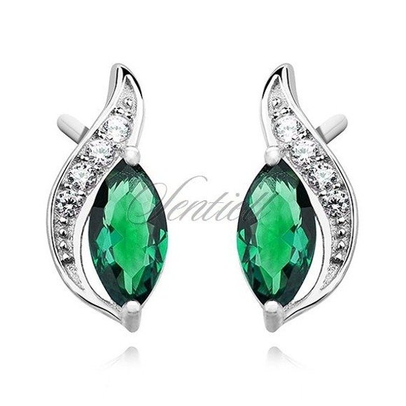 Silver (925) elegant earrings with emerald marquoise zirconia