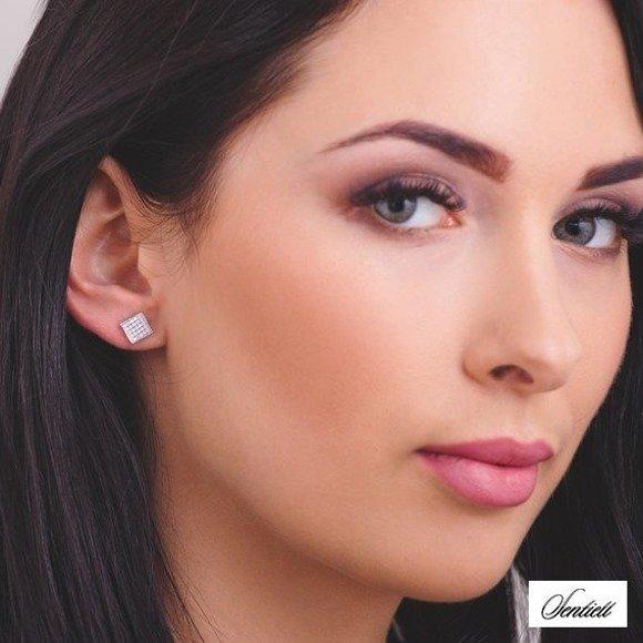 Silver (925) elegant earrings with zirconia