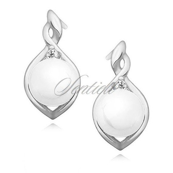 Silver (925) gold-plated earrings white pearl and zirconia