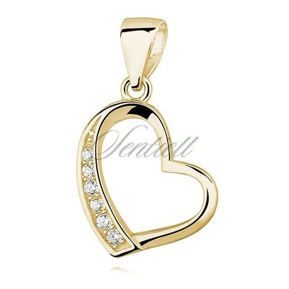 Silver (925) gold-plated pendant - hollow heart with zirconia
