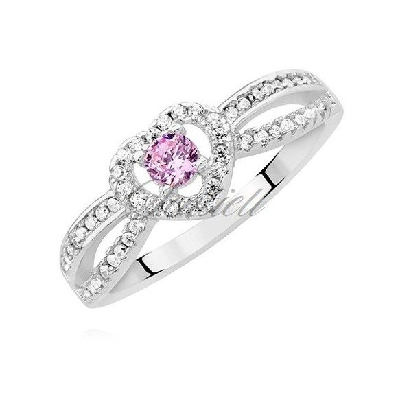 Silver (925) heart ring with pink zirconia