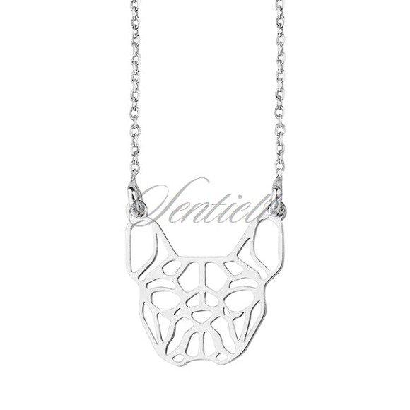 Silver (925) necklace - Origami french bulldog