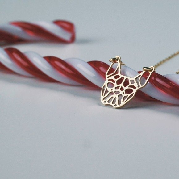 Silver (925) necklace - Origami french bulldog, gold-plated