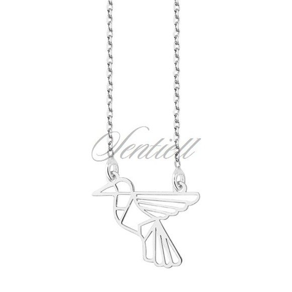 Silver (925) necklace - Origami humming-bird