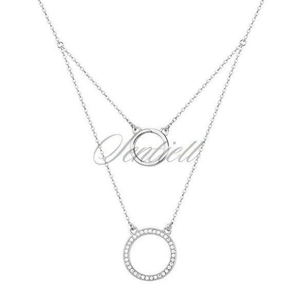 Silver (925) necklace - cirlces with zirconia