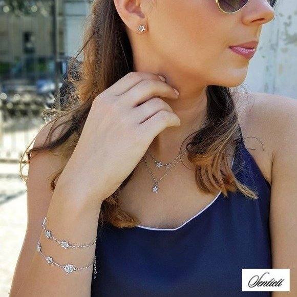 Silver (925) necklace - stars with zirconia