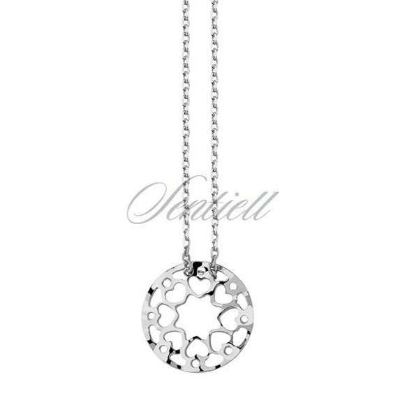 Silver (925) necklace with open-work pendant - hearts