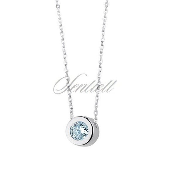 Silver (925) necklace with round pendant and auamarine zirconia