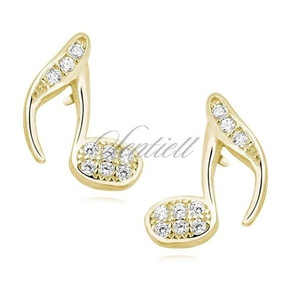 Silver (925) note earrings with zirconia, gold-plated