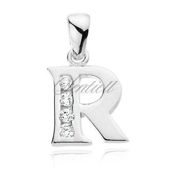Silver (925) pendant white zirconia - letter R