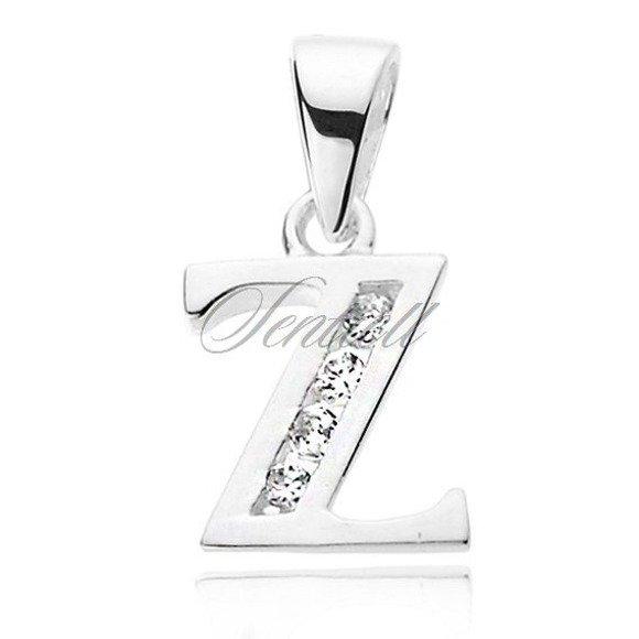 Silver (925) pendant white zirconia - letter Z