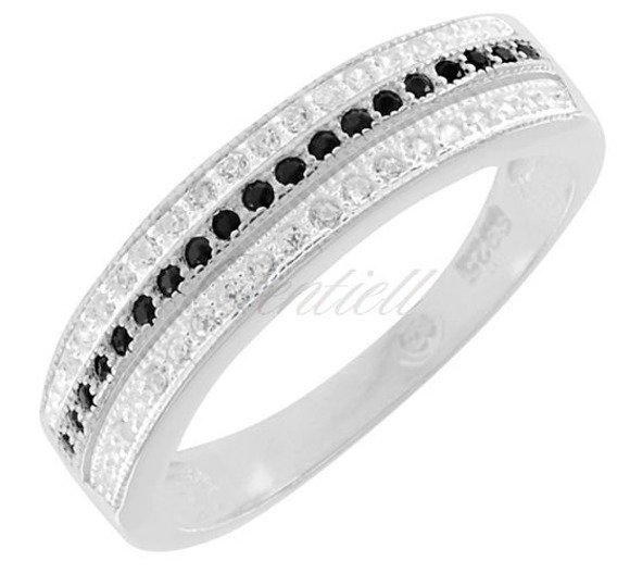 Silver (925) ring white and black zirconia