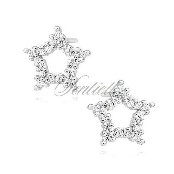 Silver (925) star earrings with zirconia