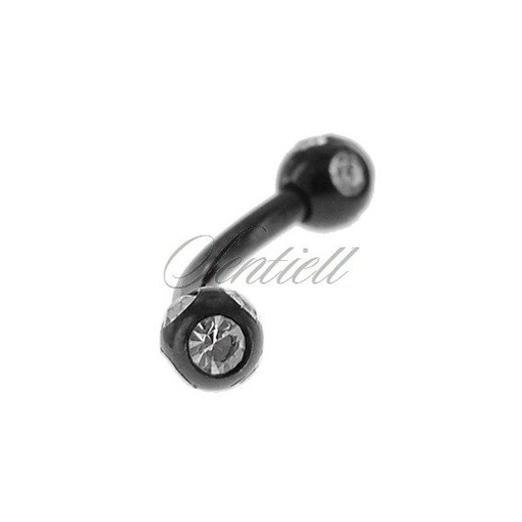 Stainless steel (316L) banana piercing for eyebrow - black balls with zirconia
