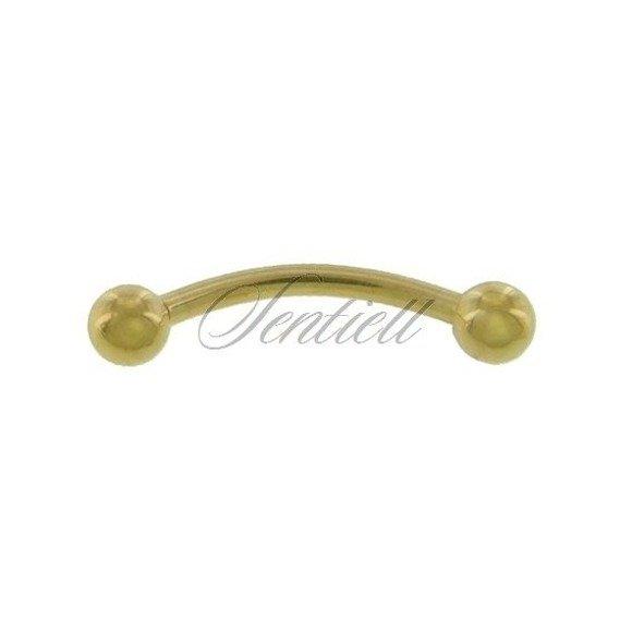 Stainless steel (316L) banana piercing for eyebrow - golden balls