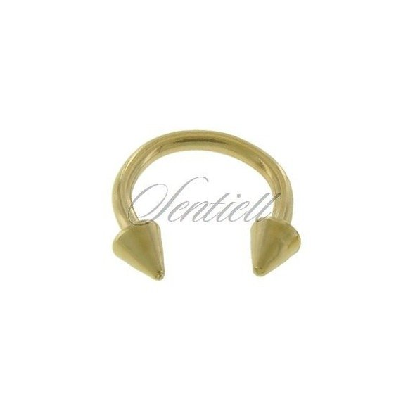 Stainless steel (316L) horseshoe piercing with spikes - golden