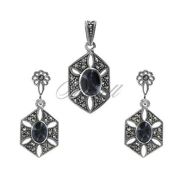 Bogato zdobiony komplet srebrny w stylu vintage pr.925 kolczyki z zawieszką markazyty