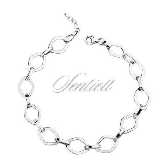 Bransoletka srebrna klasyczna łańcuch z oczkami w kształcie rombów