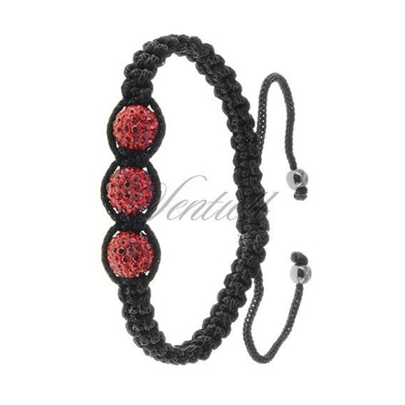 Bransoletka sznurkowa pr.925 - czerwona 3 kulki