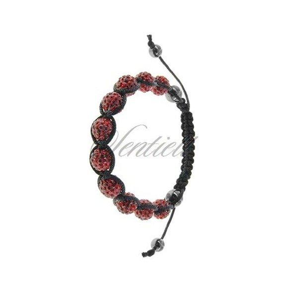 Bransoletka sznurkowa pr.925 czerwony z krzemem