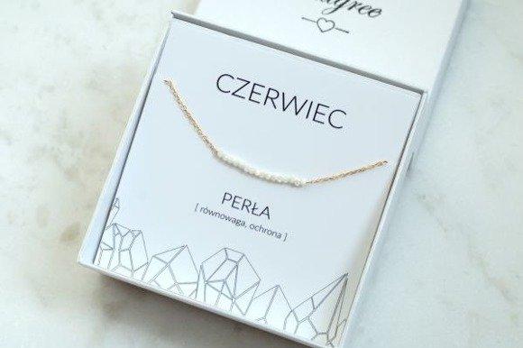 CZERWIEC - bransoletka pozłacana z perłą
