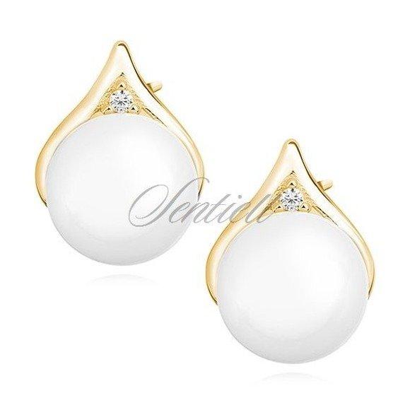 Kolczyki pozłacane łezki sztyfty z białymi perełkami