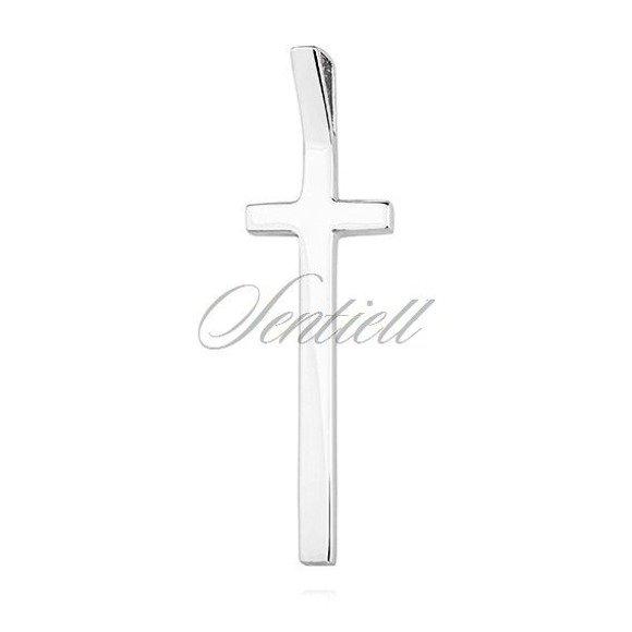Krzyżyk srebrny podłużny duży rodowany pr.925