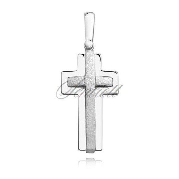 Krzyżyk srebrny z wypukłym satynowanym elementem pr.925