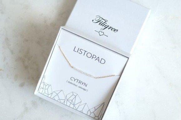 LISTOPAD - bransoletka pozłacana z cytrynem