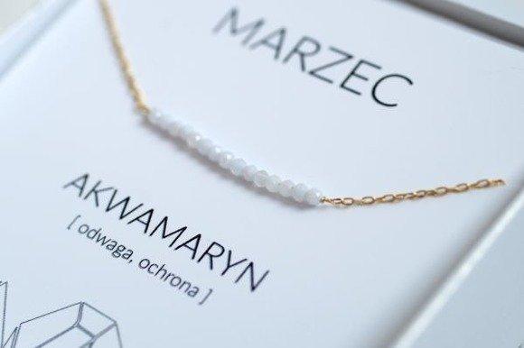 MARZEC - naszyjnik pozłacany z akwamarynem