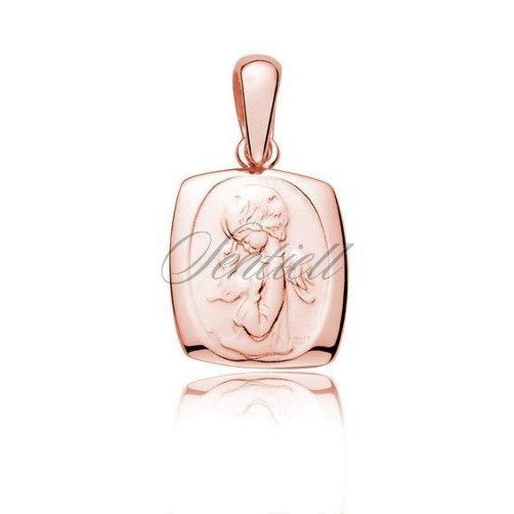 Medalik pozłacane różowym złotem Aniołek